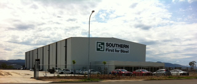 Exterior view of white Southern Steel warehouse